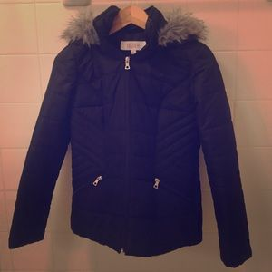 Black Puffy Coat with Hood